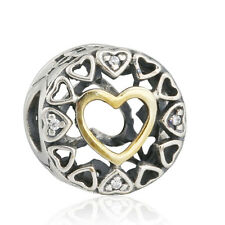 authentic 925 sterling silver Heart Charm Beads Clear CZ & 14K Gold Charms