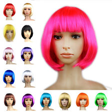 Women Full Short Hair Wig Dress Up Bang Bob Cosplay Party Straight Anime Costume