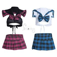 Women's Naughty School Girl Uniform Student Role Play Mini Skirt Crop Top Dress