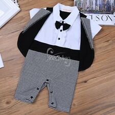 Newborn Infant Baby Boys Toddler Gentleman Formal Suit Short Sleeves Romper