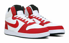 NIKE COURT BOROUGH MID TOP LEATHER WHITE RED MENS SHOES **WORLDWIDE SHIPPING