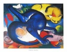 New Two Cats, Blue and Yellow 1912 Franz Marc Print