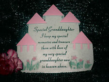 Grave Memorial - Child - Girl -Remembrance Castle-Plaque- Daughter-Granddaughter
