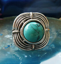 Ring in Vintage Style Tibet Silver square circumferential with stone Turquoise