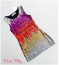 🖤 Girls Sparkle Sequin Dress Silver Gold Red Ages 4-14 Trend Prom 60's Dance