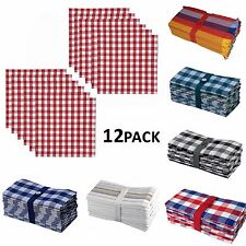 "Cotton Dinner Napkins Handkerchief 20"" x 20"" Oversized 1 Dozen Kitchen Napkins"