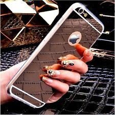 Luxury Ultra Mirror View Finish Thin Soft Mirror Metal Case For iPhone Models