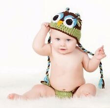 CROCHET BABY OWL HAT DIAPER  SET knit infant toddler beanie photo prop