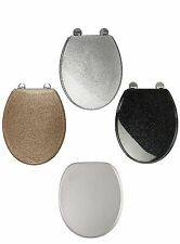 Blk/White/Gold/Silver Glitter Toilet Seat Sparkle Resin Bathroom Soft Slow Close