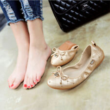 Womens Bow Tie Round Flat Shoe Moccasin Driving Shoes Soft Boat Ballet  All Size
