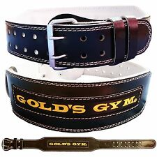 """Gold's Gym Leather Weight Lifting Belt 4"""" Double prong Lumbar Padded"""