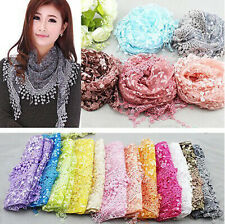 Women Hollow Tassel Lace Floral Knit Triangle Mantilla Scarf Shawl Wrap Scarves