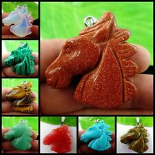 Wholesale Carved Horse'head  Mixed Gemstone Pendnat Bead 38*10mm W-MT