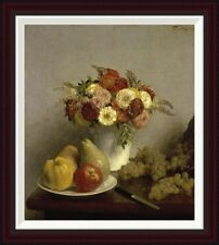 Flowers and Fruit Cuisine by Henri Fantin-Latour Framed Painting Print
