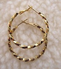 14 K Yellow Gold Plated Twisted Stud Hoop Earrings - NEW.