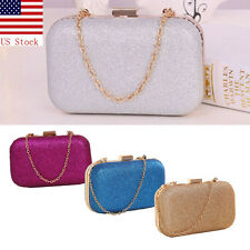 Fashion Ladies Women Clutch Box Evening Party Glitter Chain Hand Bags Wallet US