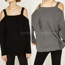 Women Autumn Hollow Out Knitwear Casual Pullover Sling Jumper Tops Sweater M4P7