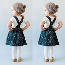 2pcs Kid Girls Korean Style T-shirt + Floral Suspender Skirt Dress Casual Outfit