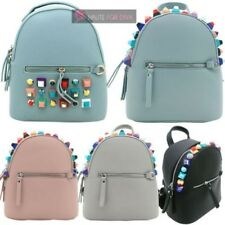 NEW WOMENS FAUX LEATHER LARGE STUDS TRAVEL HOLIDAY BACKPACK RUCKSACK