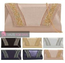 LADIES NEW FAUX LEATHER DIAMANTE DETAIL CHAIN STRAP PARTY SHOULDER BAG HANDBAG