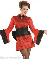 Ladies Red Sexy Japanese Geisha Girl Oriental Chinese Fancy Dress Costume Outfit