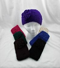 New Large Crochet Knit Knitted Headband Ear Warmer Knitted Flower Button Closure