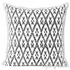 Black Block Print Throw Couch Sofa Decorative Pillow Cushion Cover Boho Indian B