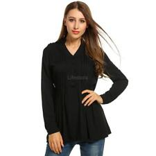 Women V-Neck Roll Up Long Sleeve Half Button Solid Pleated Tunic Tops LFSZ