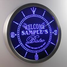 ncpt-tm Bistro Welcome Personalized Your Name Beer Home Bar Sign Neon Led Clock