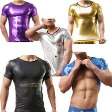 Men's Sexy Lingerie Patent Leather Shiny Metallic T-shirts Club Wear Undershirts