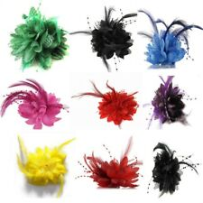 Retro Womens Fascinator Flower Feather Corsage Bridal Wedding Races Hair Clip