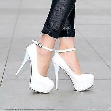 Womens Synthetic Leather Platform Stilettos High Heel Ankle Strap Pumps Shoes US