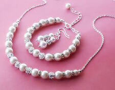 Wedding White Glass pearl & Silver Diamante AAA Chain Necklace SET, Bridesmaids