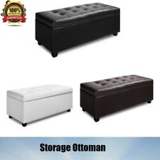 Home Furniture Blanket Box Ottoman Storage Faux PU Leather Foot Stool Chest Bed