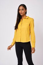 NEW Casual Soft Mustard Yellow Polka-dot Classic Cotton Shirt With Long Sleeves