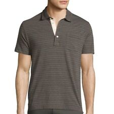 Billy Reid Men's Short Sleeve Pensacola Striped Pocket Polo Grey $95 msrp NWT