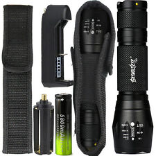 8000LM XML T6 Zoomable Tactical LED Flashlight Torch Lamp 18650 Battery ChargerO