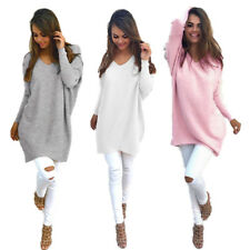 V-neck Long Sleeve New Pullover Thin Sweater Womens Ladies Loose Tops