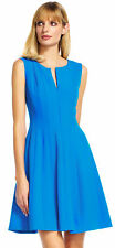Adrianna Papell Paneled Fit And Flare Dress With Zip Up Front Rgatta Blu