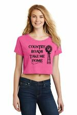 Country Roads Take Me Home Ladies Crop Top Country Music Graphic Tee Z7