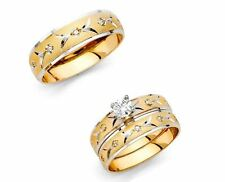 14k Two Tone Gold Trio His Hers Diamond Engagement Ring Set Bridal Wedding Band