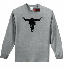 Distressed Longhorn Long Sleeve T Shirt Country Cow Skull Graphic Tee Z1