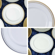 "ROUND CHARGER PLATES 24 pcs 13"" BEADED RIM Wedding Party Dinner TABLEWARE SALE"
