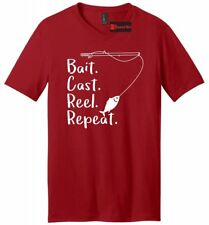 Bait Cast Reel Repeat Funny Fishing Mens V-Neck T Shirt Dad Gift Graphic Tee