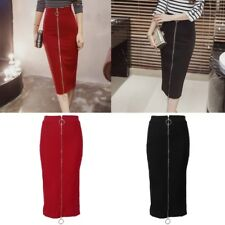 Front/Back Wear Calf Length Slim Fit Package Hip High Waisted Pencil  Skirt Long