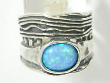Blue simulated opal Fine 925 Sterling Silver Shablool Ring Band For Jewelry