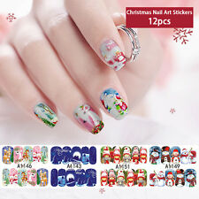12pcs Water Transfer Christmas 3D Nail Art Wraps Stickers Decals Stickers Tips
