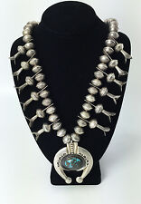 c. 1960 Navajo Turquoise and Silver Squash Blossom Necklace with Sandcast Naja