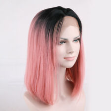 """16""""-26"""" Heat Resistant Synthetic Lace Front Wig Straight Ombre 1B/Smoke Pink Wig"""