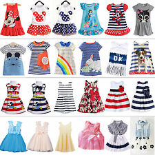 Baby Kids Girls Summer Dress Party Princess Sundress Long Tops Clothes 1-7 Y